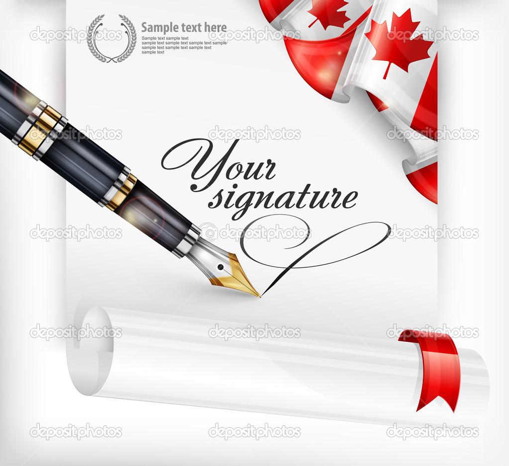pluma y canadiense en blanco — Vector de stock © creatOR76 #22515805