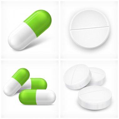 Different pills on white
