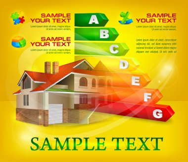 Energy efficiency rating with big house on yellow