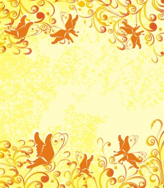 Vector floral ornament on dirty orange background