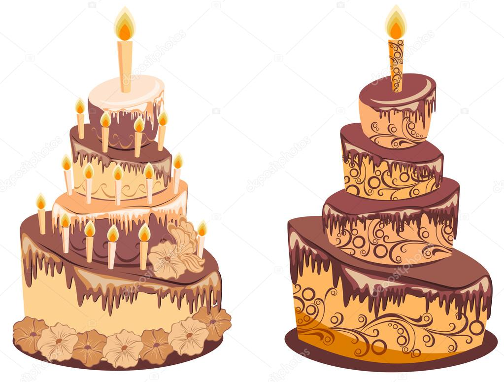 Birthday Cake Images Vektor ~ Chocolate birthday cake vector illustration u stock vector