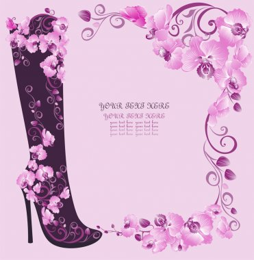 Stiletto high heels decorated of flowers on a pink orchids background