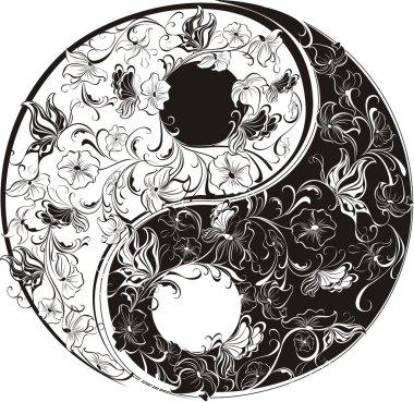 Floral Yin Yang Symbol