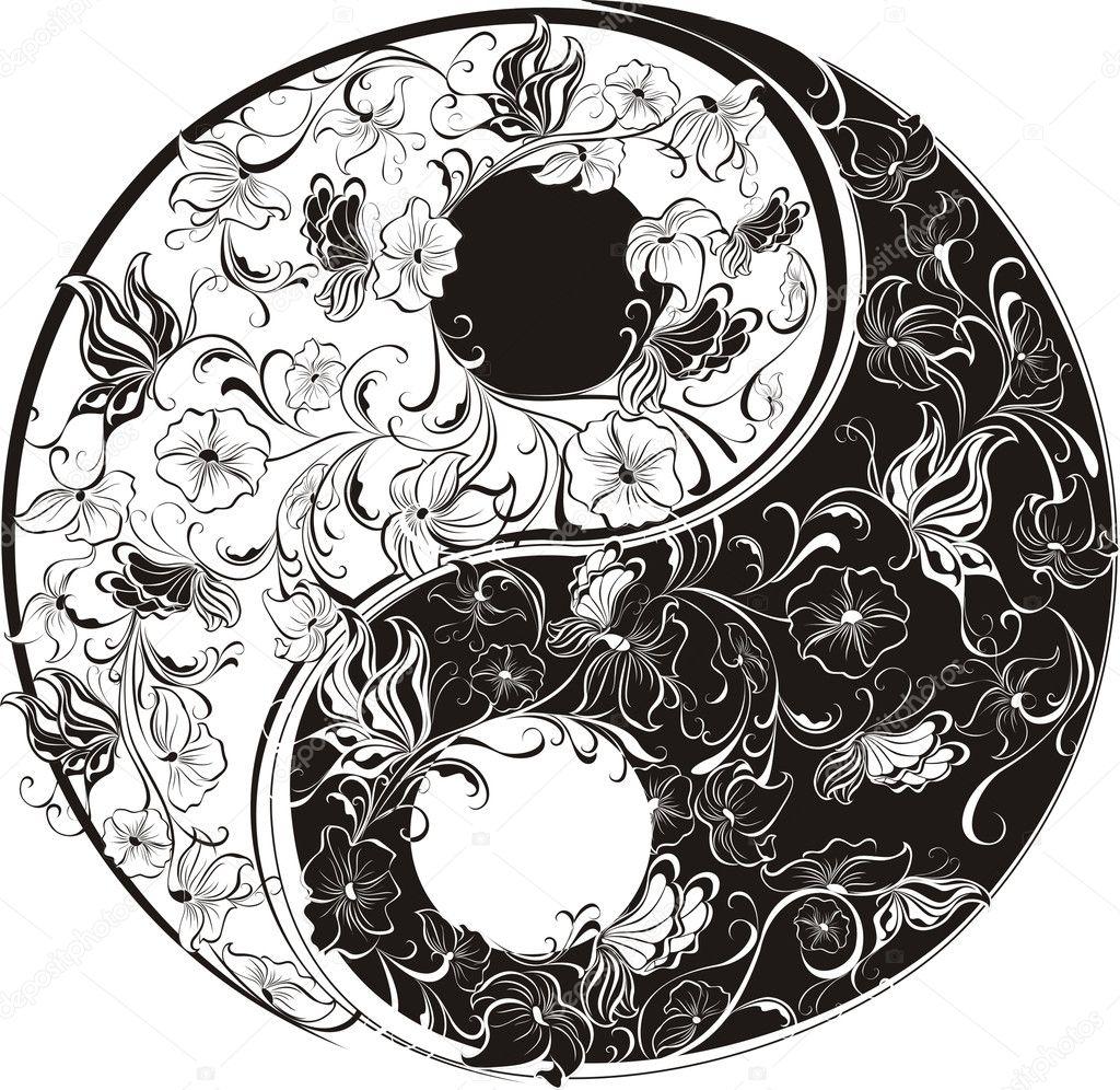 Floral Yin Yang Symbol Stock Vector C Marina99 12200473