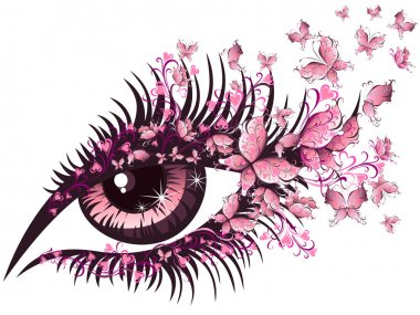 Vector illustration beautiful female eye with butterflies stock vector