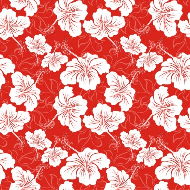 Seamless background with hibiscus flower. Hawaiian patterns