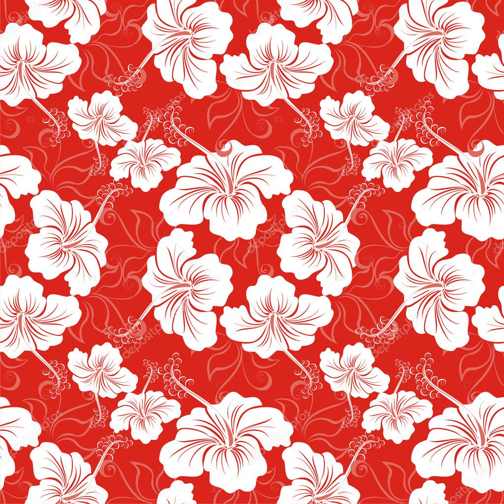 Seamless Background With Hibiscus Flower Hawaiian Patterns Stock Vector 14912455