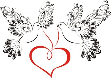 Two flying dove with heart shaped. Symbol of peace and unity