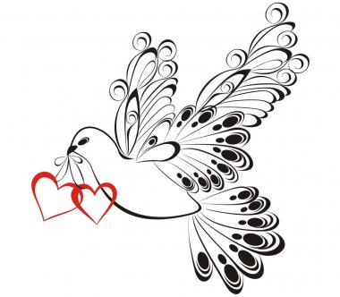 Flying dove with heart shaped. Symbol of peace and unity
