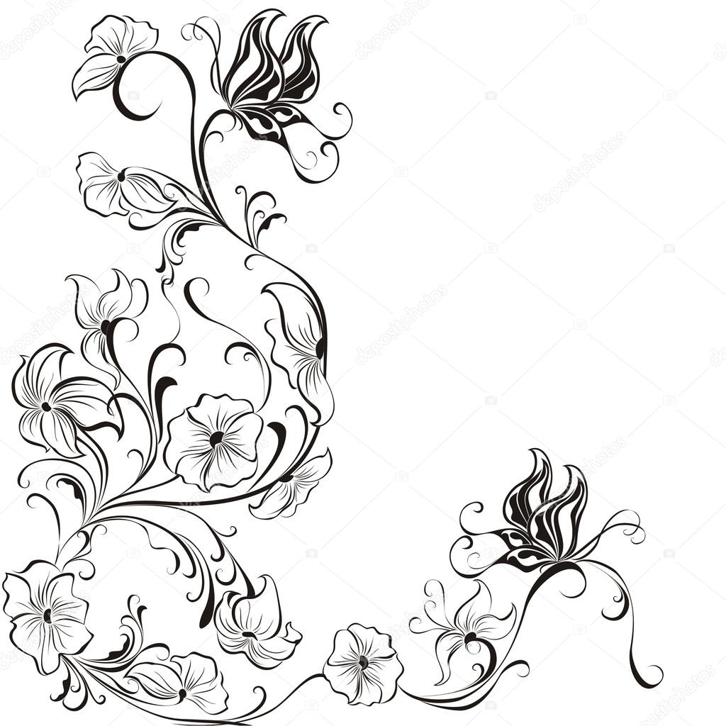 Decorative floral frame, element for design, vector
