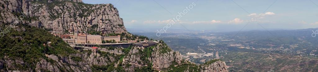 Panoramic view of Montserrat Monastery, Catalonia, Spain