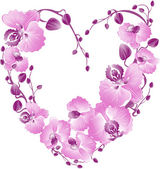 Fotografie Heart from purple orchid. Vector Valentines card.