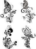 Photo Decorative vector ornament. Vector floral ornament with butterfl
