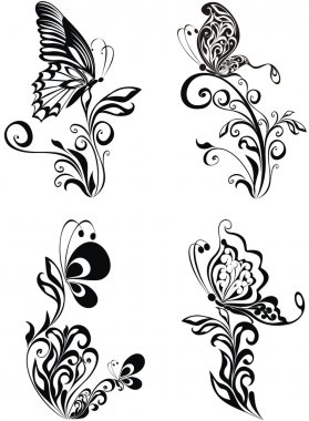Decorative vector ornament. Vector floral ornament with butterfl