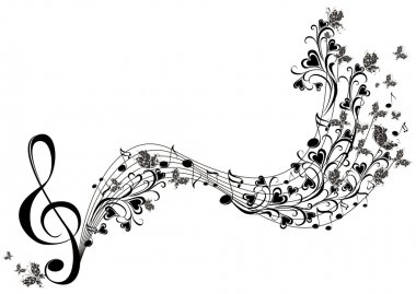 Musical notes with butterflies
