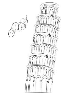 Pisa Tower, Italy. Vector sketch