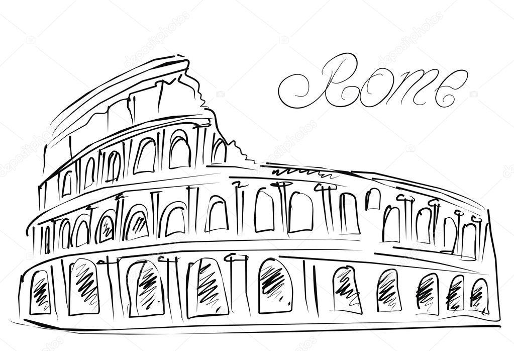 Coliseo En Roma Italia Dibujo Vectorial Vector De Stock