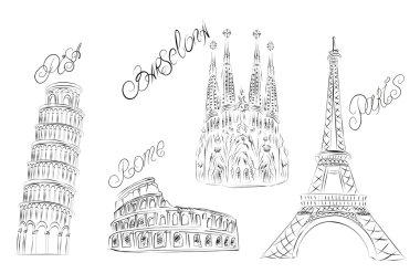 Europe landmark. Vector sketch