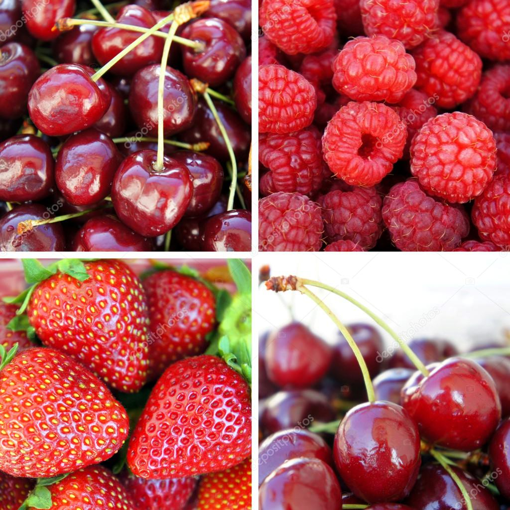 Fresh ripe berries - strawberry, cherry, raspberry