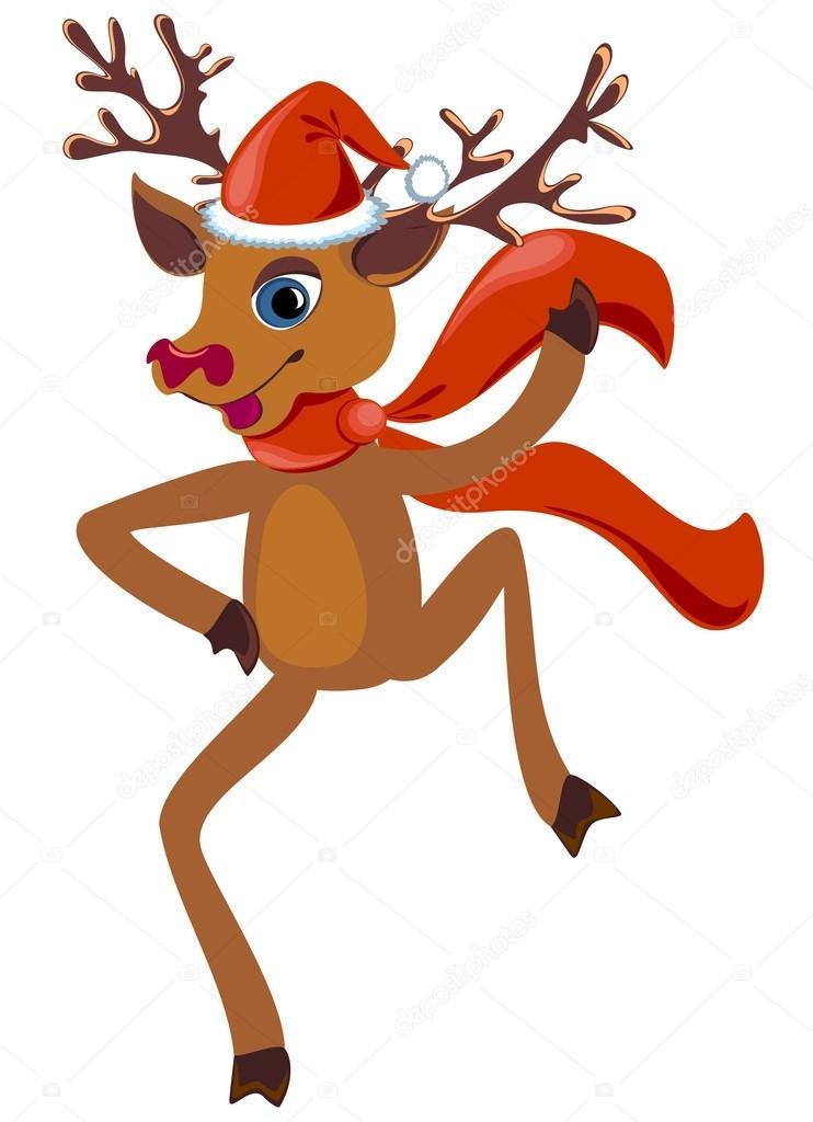 dancing christmas reindeer stock vector marina99 34705273 rh depositphotos com Prancer Reindeer Clip Art Prancer Reindeer Clip Art