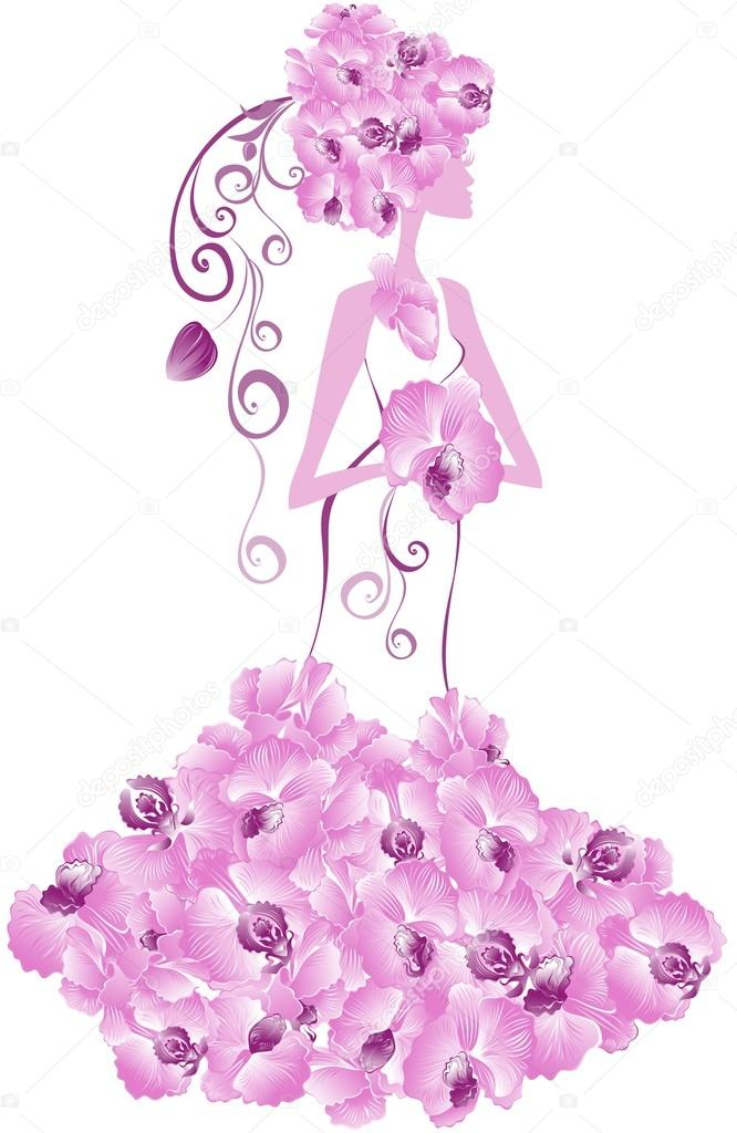 Beautiful bride with floral dress. Vector Illustration.