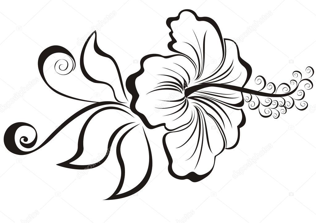 Dibujos: para colorear de flores hawaianas | flor de hibiscus ...