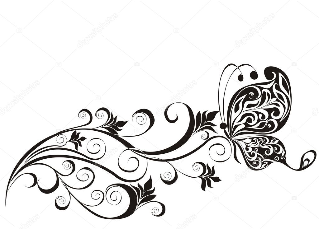 vector floral ornament with butterfly element for design stock rh depositphotos com vector ornaments designs laser wood vector ornaments for co2 laser