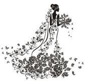 Svatební pozadí - nevěsta v květinové šaty