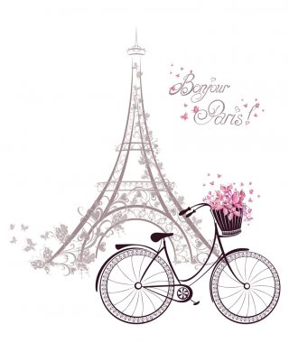 Bonjour Paris text with tower eiffel and bicycle. Romantic postc