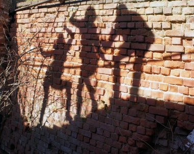 Group of human Shadows on the brick wall