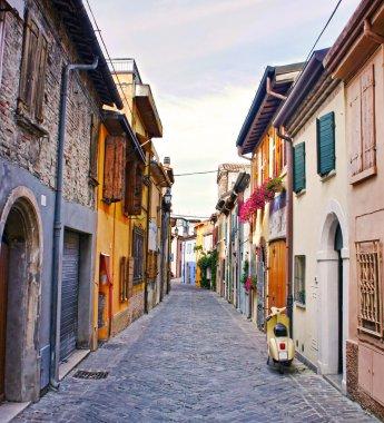 Old street in Rimini, Italy