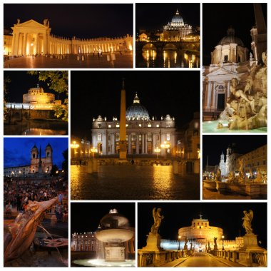 Rome in the night. Piazza Navona, Vatican, Spanish Steps, castle and bridge Saint Angel