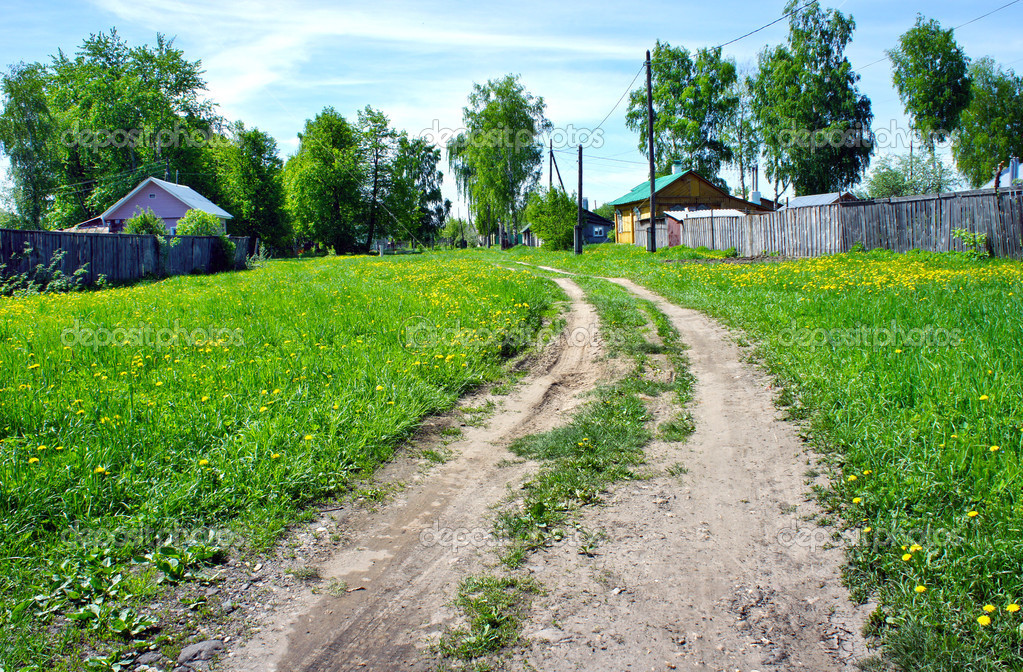 Ground road in small russian village