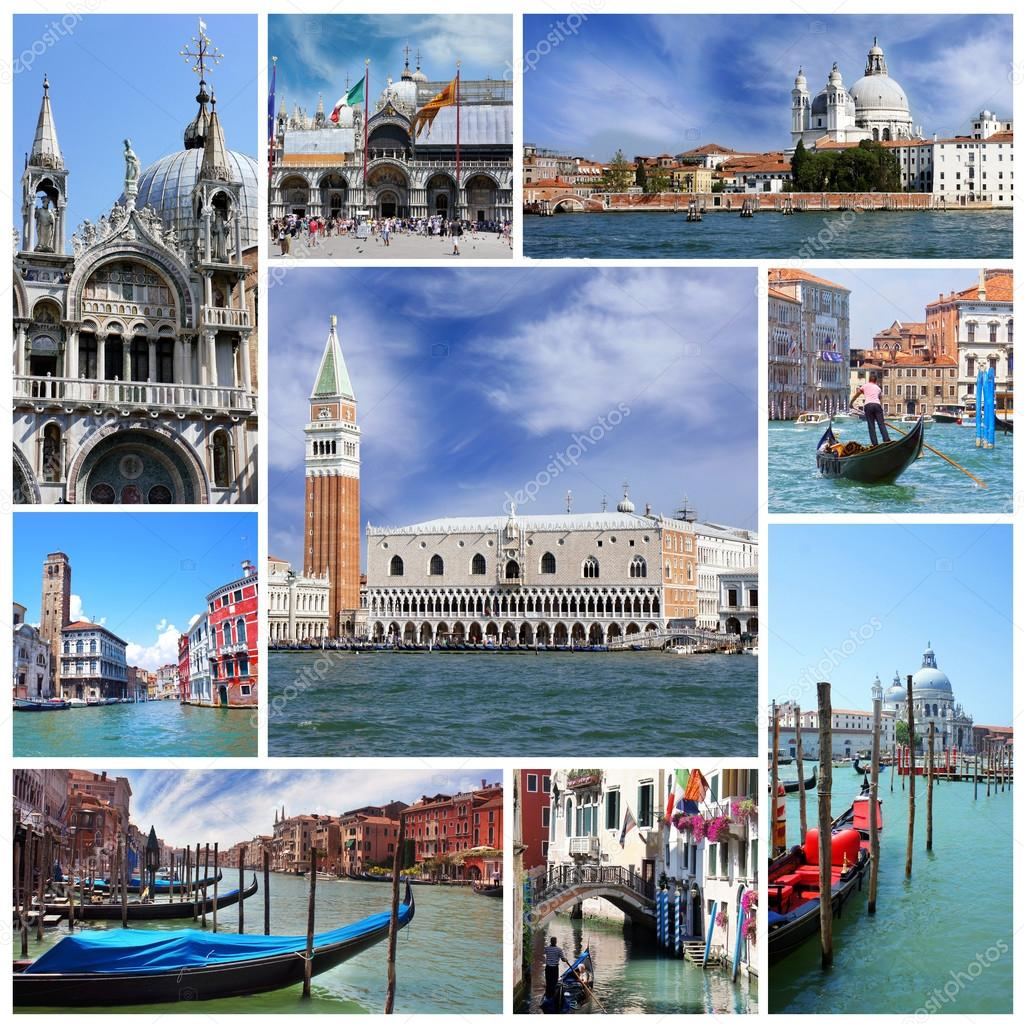collage der sehensw rdigkeiten in venedig italien stockfoto marina99 38544349. Black Bedroom Furniture Sets. Home Design Ideas
