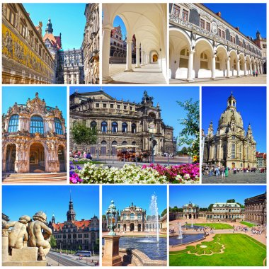 Collage of landmarks of Dresden, Germany. Zwinger Palace, Semper Opera house, Fuerstenzug, Castle Stallhof, Frauenkirche (Church of Our Lady) in Dresden, Saxony, Germany