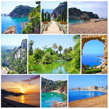 Collage of summer beach images - nature and travel background. Spain, Costa Brava