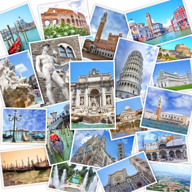 Stack of travel images from Italy (my photos). Famous landmarks of Italian cities - Venice, Rome, Florence, Siena, Pisa, Tivoli
