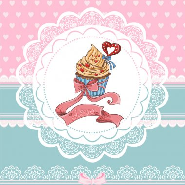 Beautiful Vintage card on Valentine's Day with cupcake.