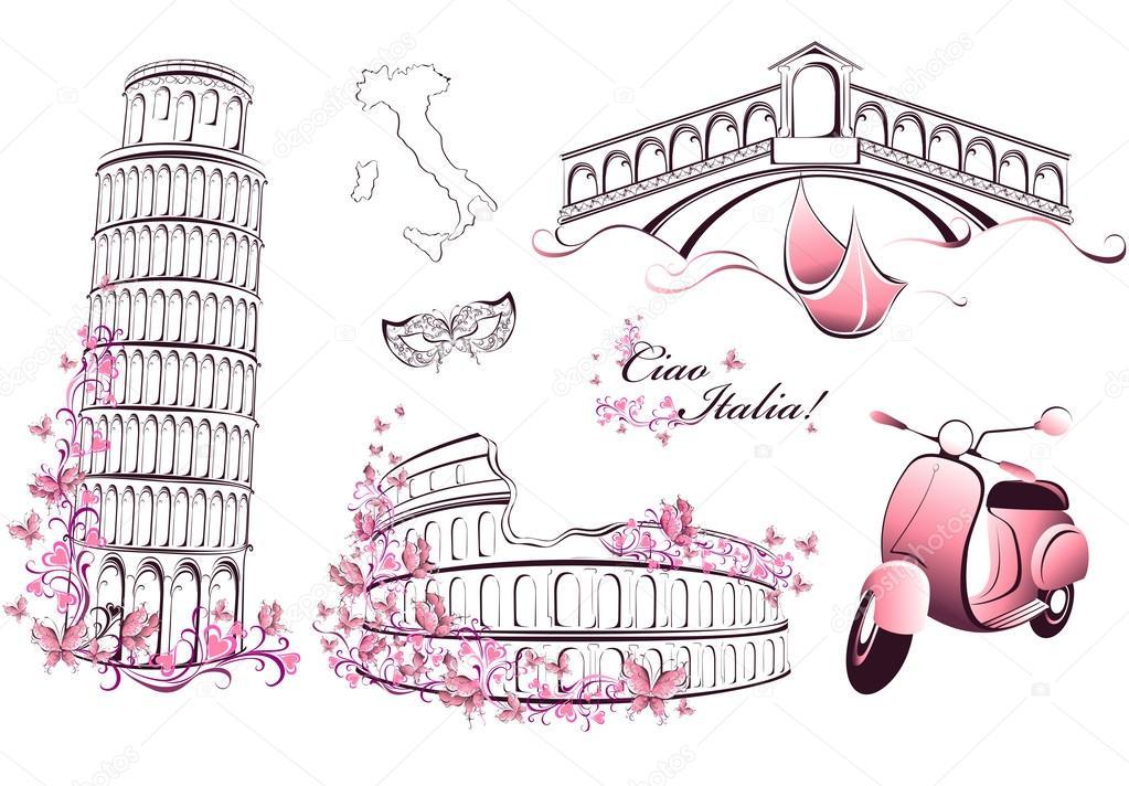 famous landmarks of italy rome venice pisa stock vector