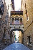 Fotografie Most na ulici carrer del bisbe v barri gotic (biskup ulice), barcelona, Katalánsko, Španělsko