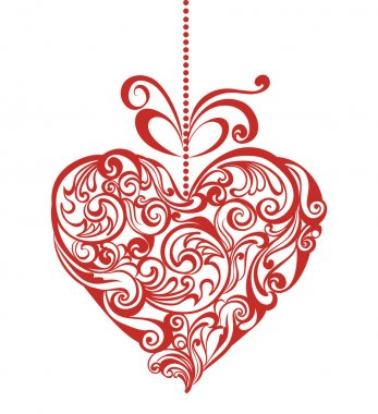 Valentines day card with elegant floral heart clip art vector