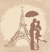 Fotografie Flitterwochen und romantische Reisen. glücklich liebenden Paar küssen vor Eiffelturm, Paris, Frankreich