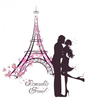 Honeymoon and Romantic Travel. Happy young lovers couple kissing in front of Eiffel Tower, Paris, France.