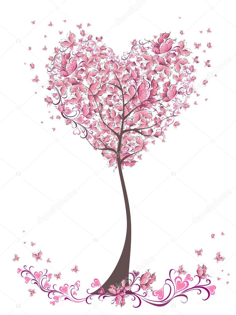 Tree of love with leaves from heart shape. Weddings or Valentine's day idea for your design