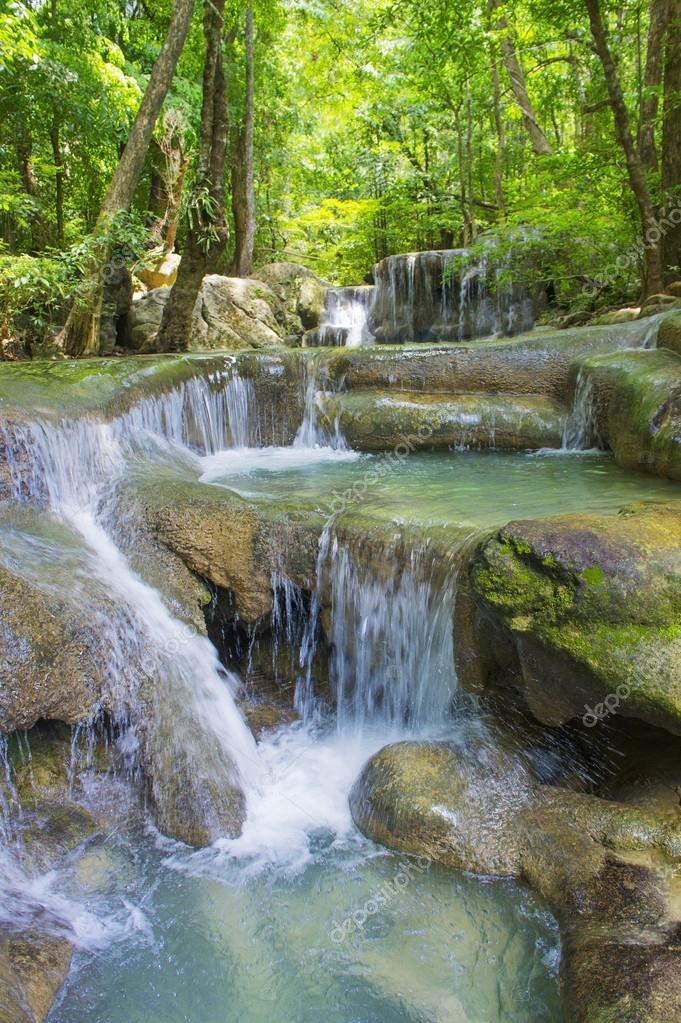 Waterfall in the forest. Level five of Erawan Waterfall in National Park Kanchanaburi, Thailand