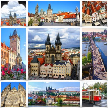 Collage of landmarks of Prague. Charles bridge, Cathedral of Saint Vitus, Orloj Astronomical Clock, Church of our Lady Tyn in old town of Prague, Czech Republic