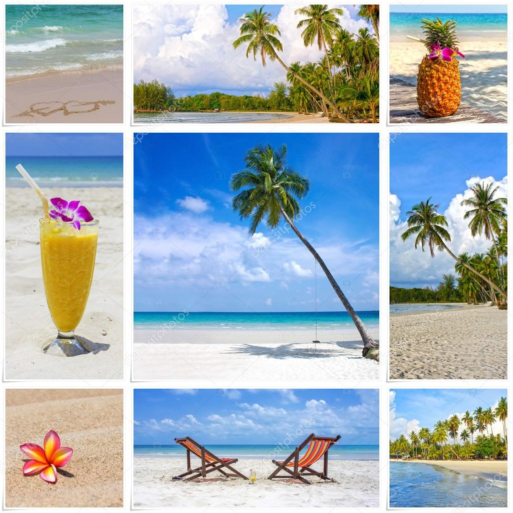 Collage of summer tropical beach image. Nature and travel background