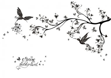 Spring tree and flying birds. Vector illustration