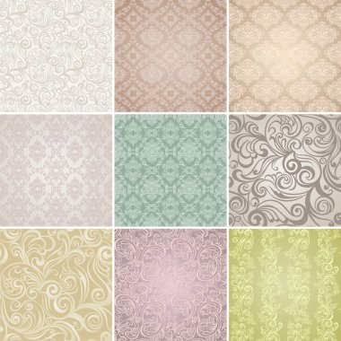 Collection Seamless floral pattern. Vintage background stock vector