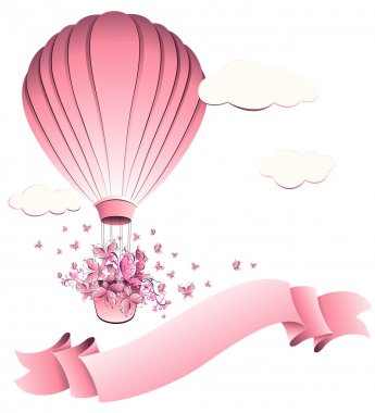 Vintage hot air balloon in sky. Greeting card. Vector illustration.